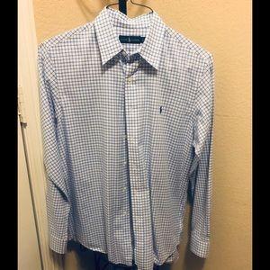 Ralph Blue Lauren Long Sleeve Dress Shirt Large